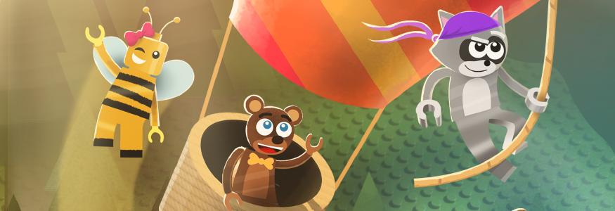 graphics of cartoon animals going on an adventure