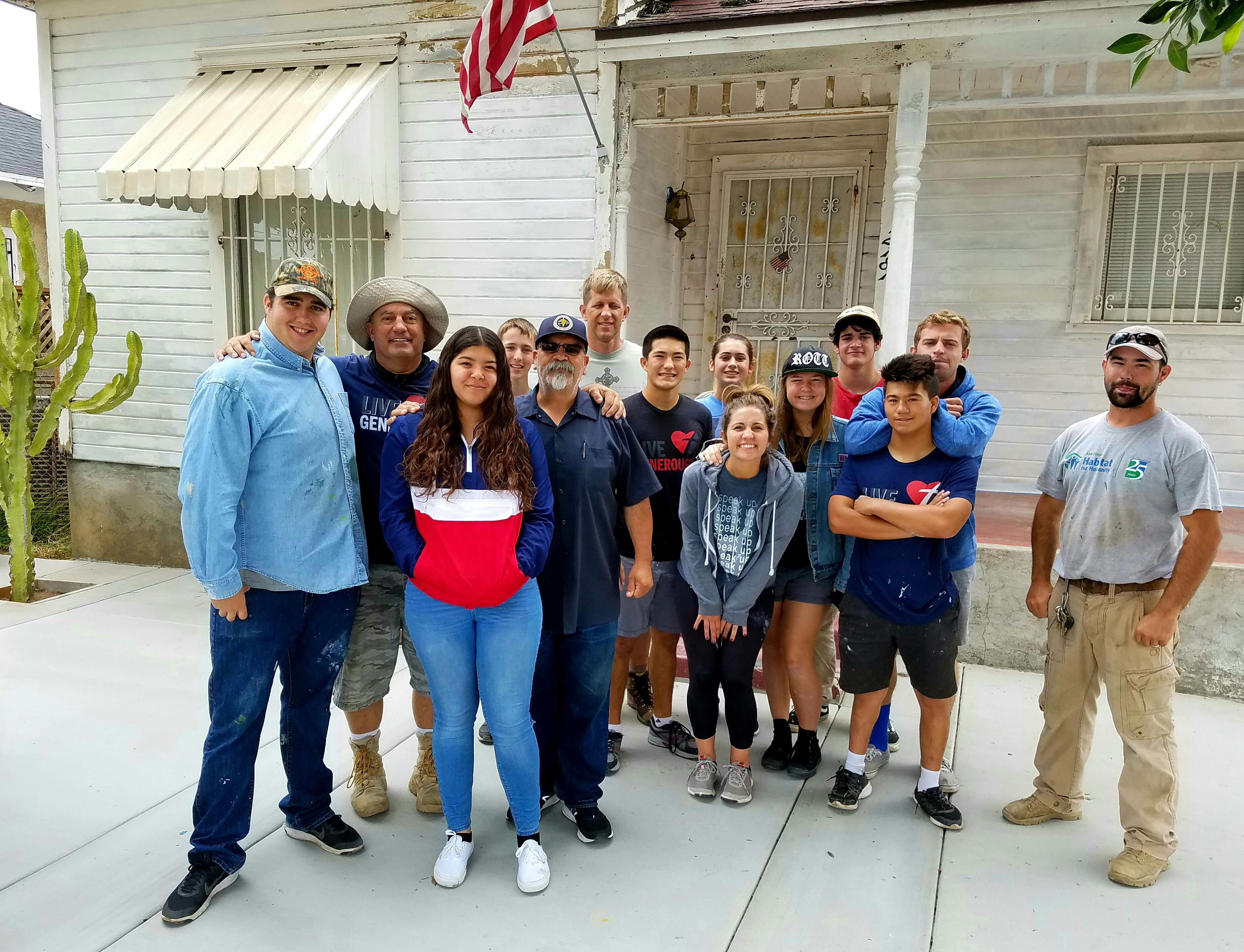 Youth group poses for photo after community service project