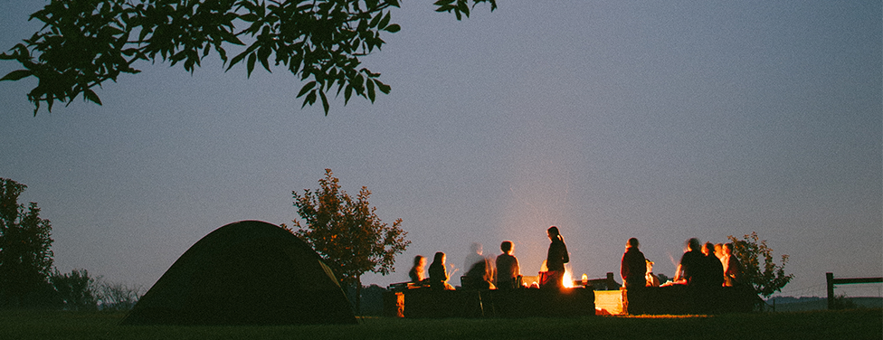 a group of people camping