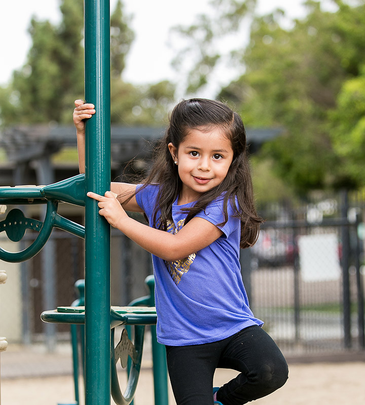 Girl plays on playground